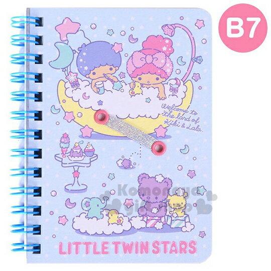 〔小禮堂〕雙子星 日製左翻線圈橫線筆記本《B7.淡藍.洗澡》記事本.手札