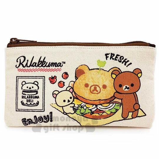 〔小禮堂〕懶懶熊 拉拉熊 帆布扁平拉鍊筆袋《米棕.漢堡》收納包.化妝包.鉛筆盒