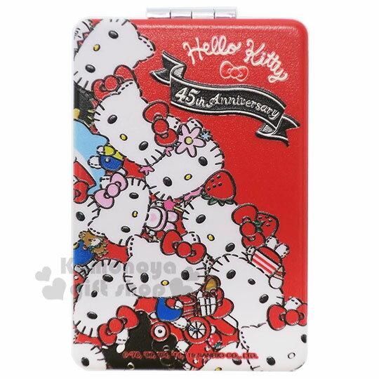 〔小禮堂〕Hello Kitty 塑膠長方形雙面鏡《紅黑.變裝滿版》放大鏡.隨身鏡.折鏡