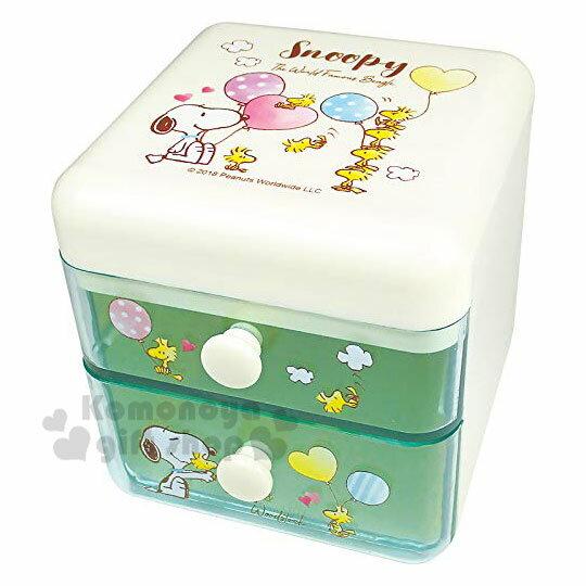 〔小禮堂〕史努比 桌上型塑膠雙抽收納盒《米綠.汽球》置物盒.抽屜盒.飾品盒