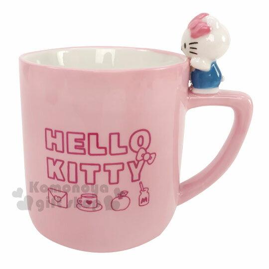 〔小禮堂〕Hello Kitty 造型陶瓷馬克杯《粉.杯邊玩偶》250ml.咖啡杯.茶杯 0