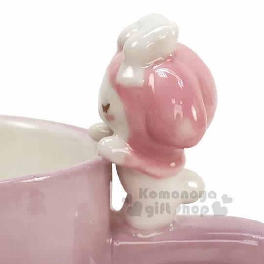 〔小禮堂〕美樂蒂 造型陶瓷馬克杯《粉.杯邊玩偶》250ml.咖啡杯.茶杯 2