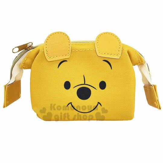 〔小禮堂〕迪士尼 小熊維尼 硬式支架帆布化妝包~黃.大臉~收納包.萬用包