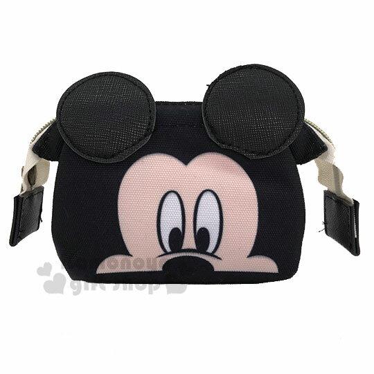 〔小禮堂〕迪士尼 米奇 硬式支架帆布化妝包~黑.大臉~收納包.萬用包