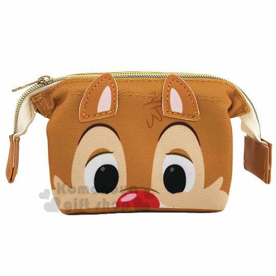 〔小禮堂〕迪士尼 蒂蒂 硬式支架帆布化妝包~淺棕.大臉~收納包.萬用包