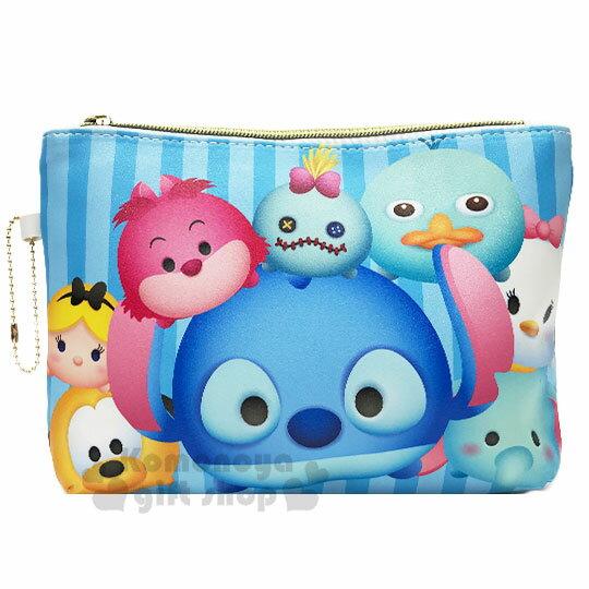 〔小禮堂〕迪士尼 TsumTsum 皮質扁平拉鍊化妝包《藍.大臉》收納包.萬用包.筆袋