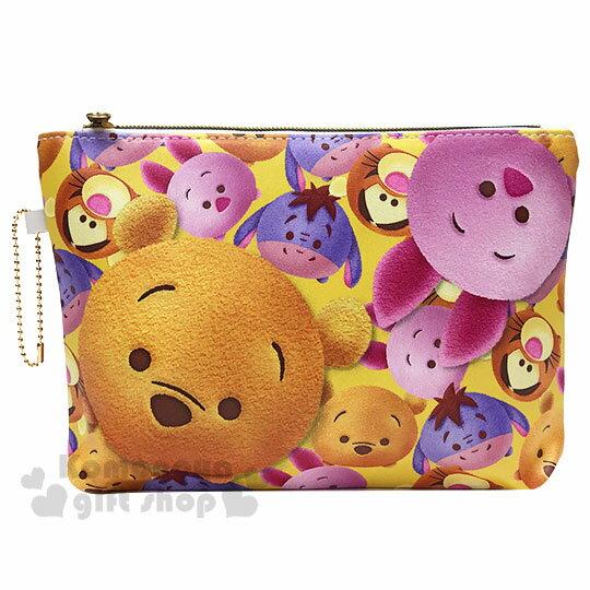 〔小禮堂〕迪士尼TsumTsum 小熊維尼 皮質扁平拉鍊化妝包《黃.大臉》收納包.萬用包.筆袋