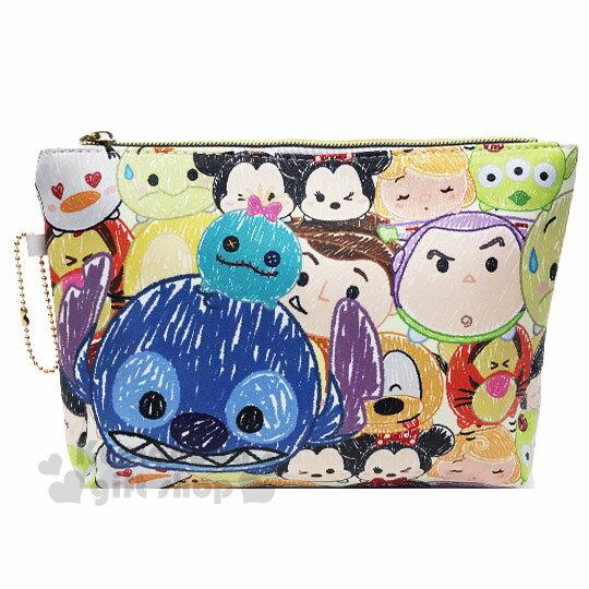 〔小禮堂〕迪士尼 TsumTsum 皮質扁平拉鍊化妝包《彩.塗鴉大臉》收納包.萬用包.筆袋