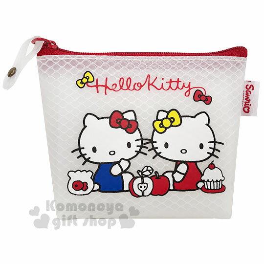 小禮堂 Hello Kitty 防水網狀船形零錢包《白紅.mimmy》收納包.萬用包