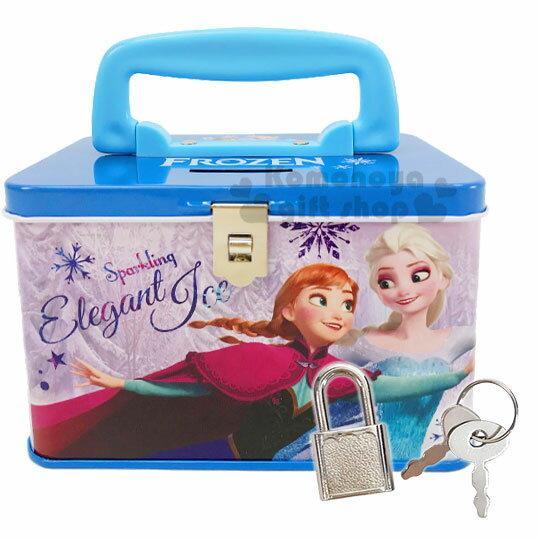 〔小禮堂〕迪士尼 冰雪奇緣 方形鐵製手提存錢筒附鎖《藍紫.跳舞》撲滿.儲金筒