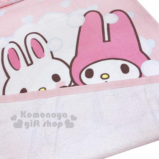 〔小禮堂〕美樂蒂 純棉割絨大浴巾《粉白.洗澡》76x152cm.毛巾 2