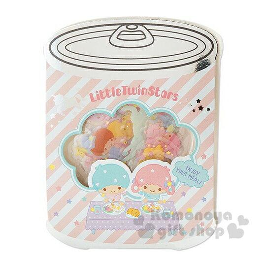 〔小禮堂〕雙子星 罐頭 果凍透明貼紙組《粉綠》裝飾貼.黏貼用品.包裝