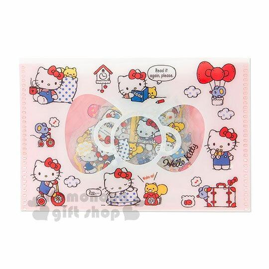 〔小禮堂〕Hello Kitty 燙金透明貼紙收納夾組《紅白》裝飾貼.黏貼用品.包裝