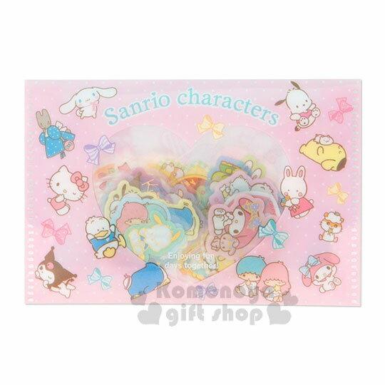 〔小禮堂〕Sanrio大集合 燙金透明貼紙收納夾組《粉》裝飾貼.黏貼用品.包裝