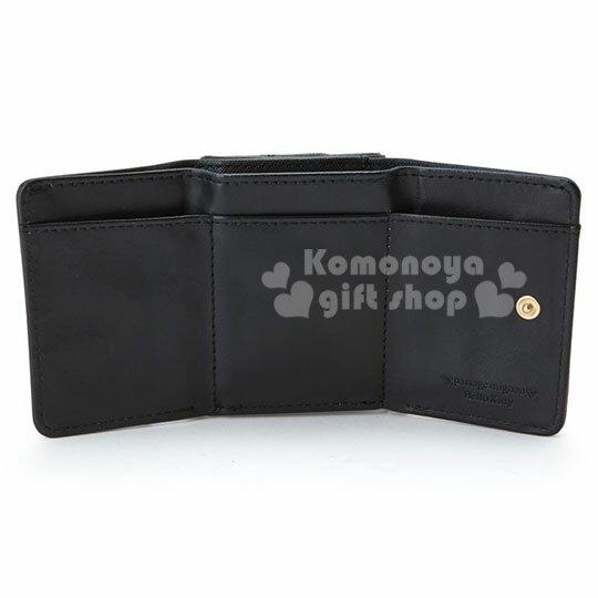 【領券折$120】小禮堂 Hello Kitty passage mignon 皮質扣式短夾 短皮夾 零錢包 (黑金)