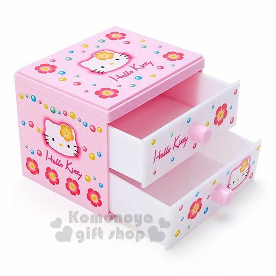 小禮堂 Hello Kitty 桌上型塑膠雙抽收納盒《粉白》置物盒.抽屜盒.45週年紀念系列
