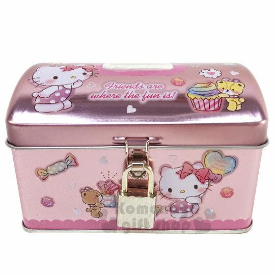 〔小禮堂〕Hello Kitty 方形鐵製存錢筒附鎖《粉.拿汽球》撲滿.儲金筒.收納盒