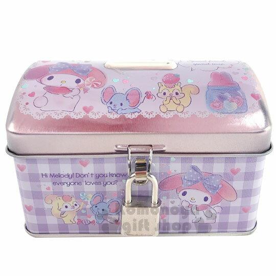 〔小禮堂〕美樂蒂 方形鐵製存錢筒附鎖《粉紫.拿棒棒糖》撲滿.儲金筒.收納盒