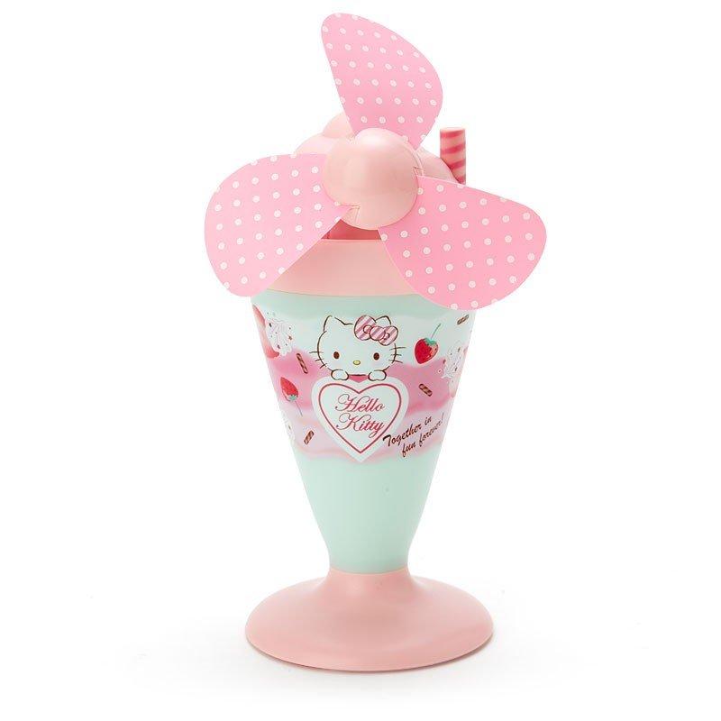 〔小禮堂〕Hello Kitty 軟葉片冰淇淋造型電池式隨身風扇《粉綠》立扇.手持電風扇 0