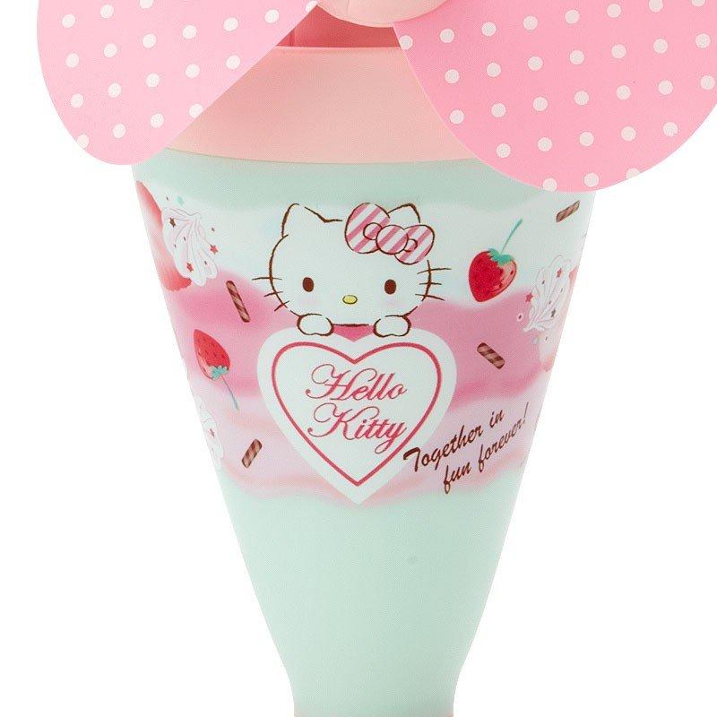 〔小禮堂〕Hello Kitty 軟葉片冰淇淋造型電池式隨身風扇《粉綠》立扇.手持電風扇 2