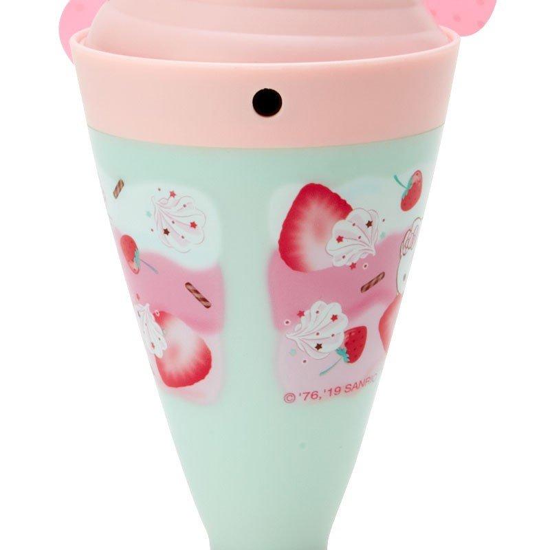 〔小禮堂〕Hello Kitty 軟葉片冰淇淋造型電池式隨身風扇《粉綠》立扇.手持電風扇 3