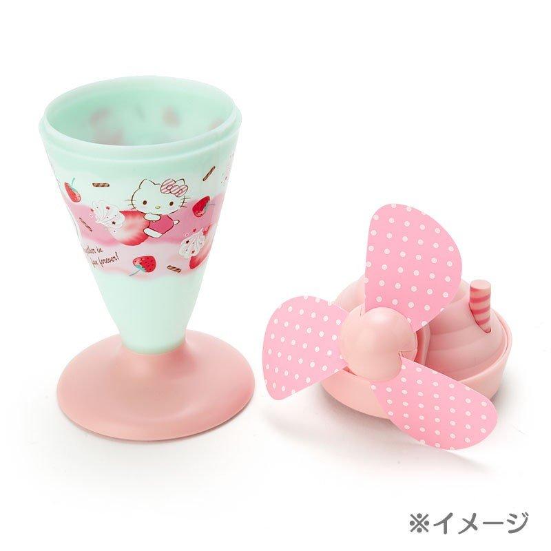 〔小禮堂〕大耳狗 軟葉片冰淇淋造型電池式隨身風扇《粉綠》立扇.手持電風扇 5