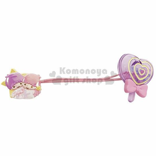 〔小禮堂〕雙子星 壓克力棒棒糖 珠珠彈力髮束《粉紫》髮圈.髮飾