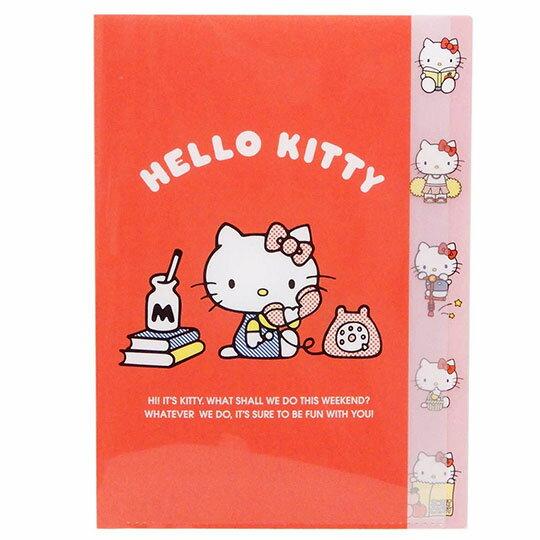 〔小禮堂〕Hello Kitty 日製L型分類文件夾《A4.紅.講電話》資料夾.檔案夾.L夾