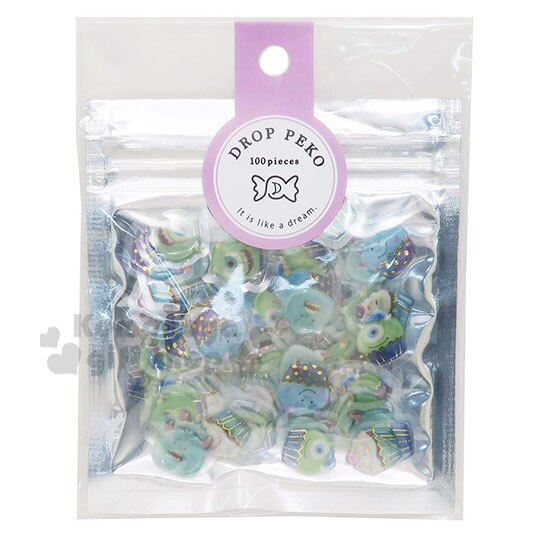 〔小禮堂〕迪士尼 怪獸大學 燙金果凍貼紙夾鏈袋組《藍綠》裝飾貼.黏貼用品.包裝