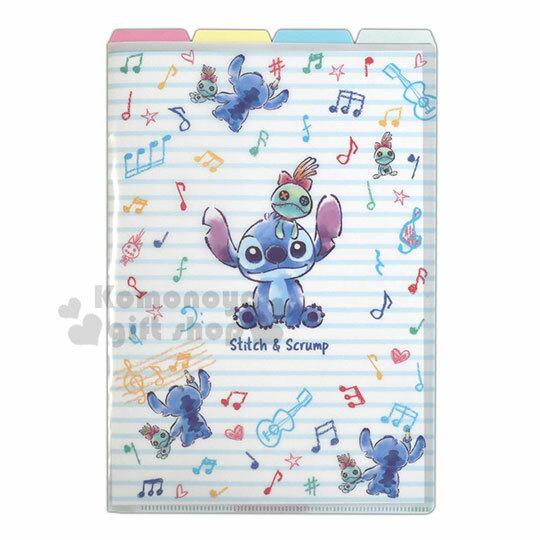 〔小禮堂〕迪士尼 史迪奇 L型分類文件夾《A4.藍白.條紋音符》資料夾.L夾.檔案夾
