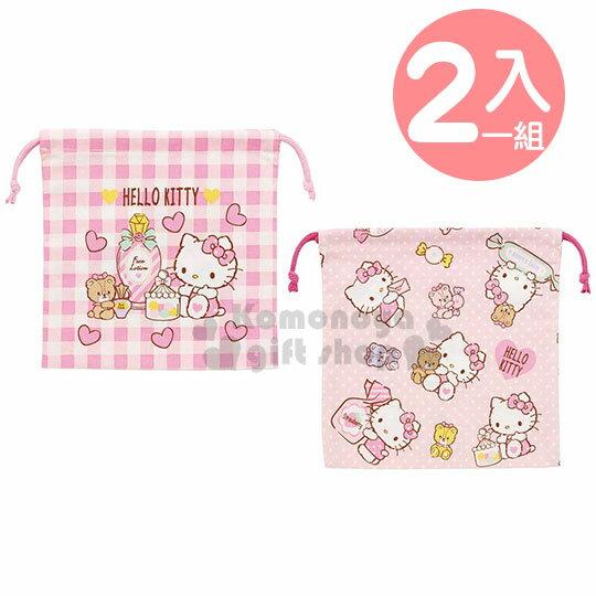 【領券折$30】小禮堂 Hello Kitty 棉質束口袋組《2入.粉.糖果罐》20x20cm.收納袋.縮口袋