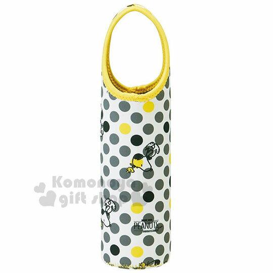 〔小禮堂〕史努比 潛水布飲水壺袋《黃灰.點點滿版》手搖杯袋.環保杯袋.杯套