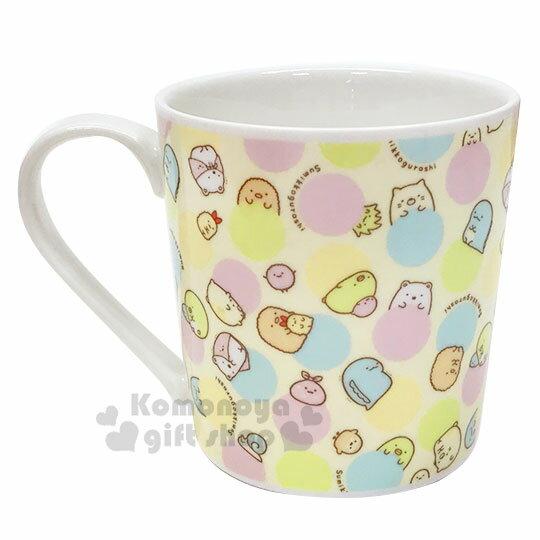 小禮堂 角落生物 陶瓷馬克杯方巾組《粉黃.點點滿版》咖啡杯.茶杯.手帕