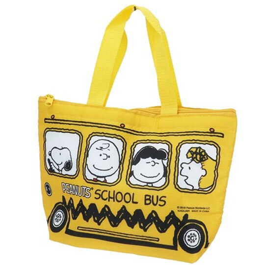 〔小禮堂〕史努比 尼龍保冷手提便當袋《黃.公車》手提袋.外出袋.保冷袋 0
