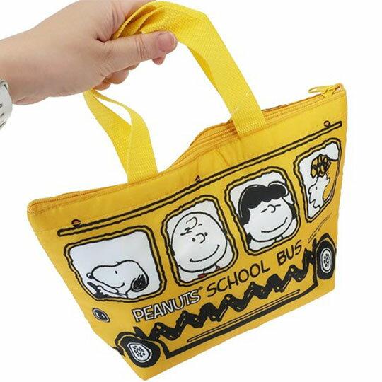 〔小禮堂〕史努比 尼龍保冷手提便當袋《黃.公車》手提袋.外出袋.保冷袋 2