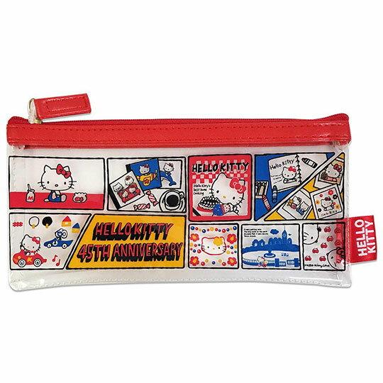 〔小禮堂〕Hello Kitty 防水扁平拉鍊筆袋《紅藍.漫畫框》收納包.化妝包.鉛筆盒