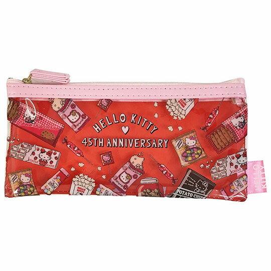 〔小禮堂〕Hello Kitty 防水扁平拉鍊筆袋《紅粉.餅乾》收納包.化妝包.鉛筆盒