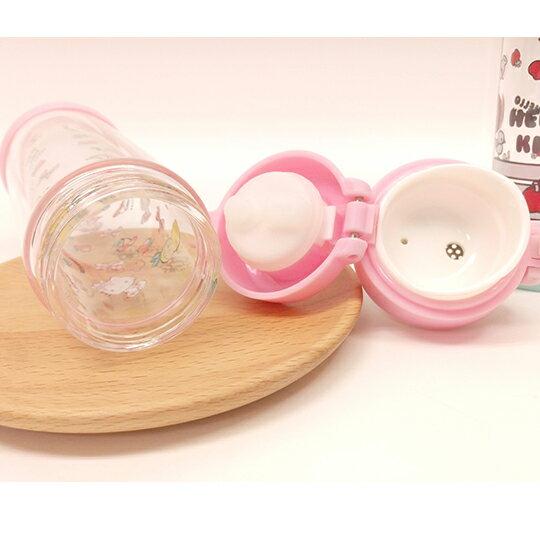〔小禮堂〕Hello Kitty 雙層玻璃彈蓋水壺《透明.藍.粉》300ml.隨身瓶.水瓶 3