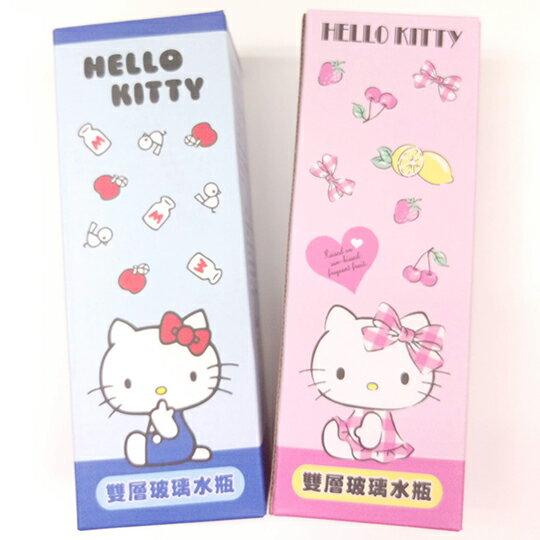 〔小禮堂〕Hello Kitty 雙層玻璃彈蓋水壺《透明.藍.粉》300ml.隨身瓶.水瓶 4