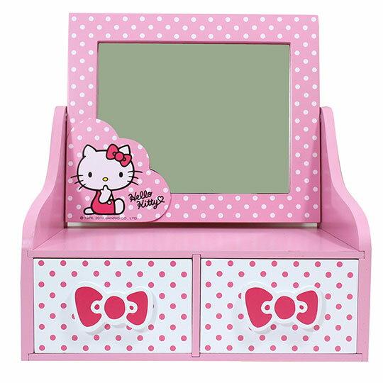 〔小禮堂〕Hello Kitty 木製桌上型化妝鏡雙抽收納盒《粉白.點點》抽屜盒.木製櫃.置物盒