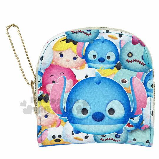 〔小禮堂〕迪士尼TsumTsum 史迪奇 皮質半圓拉鍊零錢包《藍.大臉》收納包.短夾.掛飾