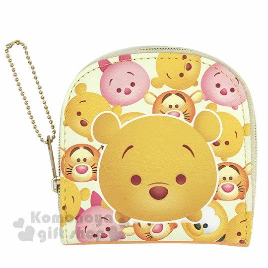 〔小禮堂〕迪士尼TsumTsum 小熊維尼 皮質半圓拉鍊零錢包《黃橘.大臉》收納包.短夾.掛飾
