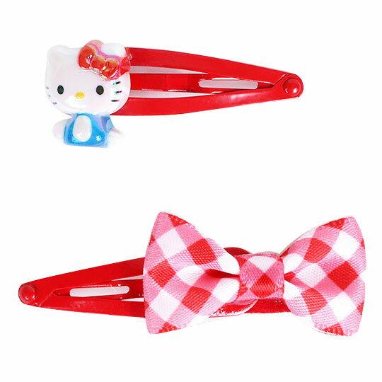 〔小禮堂〕Hello Kitty 鐳射光壓克力鐵製髮夾組《2入.紅.側坐》鴨嘴夾.彈力夾.髮飾