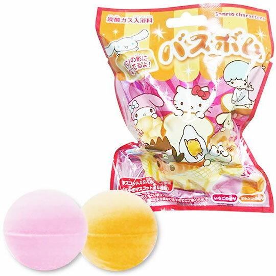 〔小禮堂〕Sanrio大集合 造型入浴球《8款隨機.紅.麵包》入浴劑.泡澡球 0