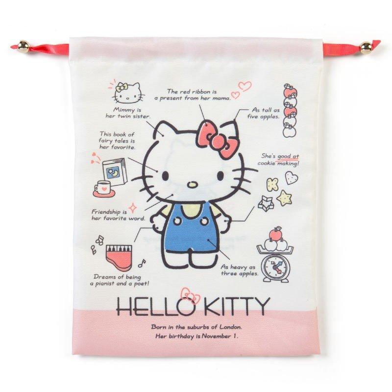〔小禮堂〕Hello Kitty 帆布束口袋《米紅》30x23cm.縮口袋.收納袋.2019角色大賞 0