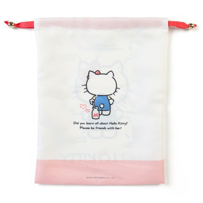 〔小禮堂〕Hello Kitty 帆布束口袋《米紅》30x23cm.縮口袋.收納袋.2019角色大賞 1