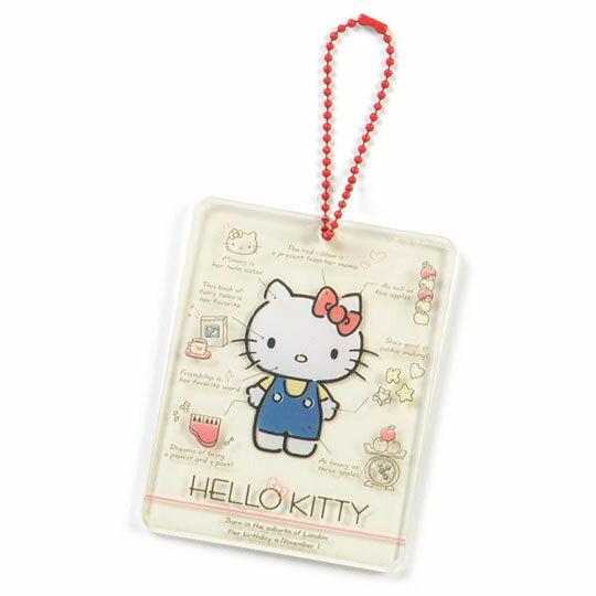 〔小禮堂〕Hello Kitty 方形透明壓克力 掛飾《米紅》吊飾.2019角色大賞
