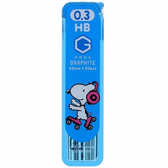 〔小禮堂〕史努比 日製自動鉛筆筆芯《藍粉.直排輪》0.3mm.HB筆芯.學童文具