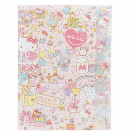 〔小禮堂〕Hello Kitty 日製L型分類文件夾《A4.粉.45週年》資料夾.L夾.檔案夾 0