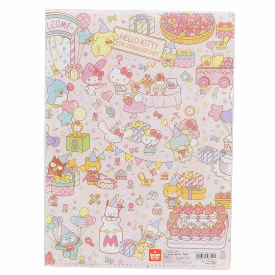 〔小禮堂〕Hello Kitty 日製L型分類文件夾《A4.粉.45週年》資料夾.L夾.檔案夾 2